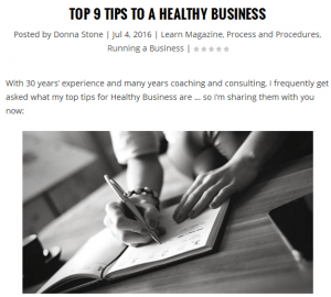 Tips to a Healthy Business